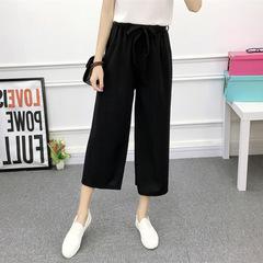 2018 Fashion Summer Wide Leg Pants Women High Waist Plaid Striped Loose Palazzo Pants Elegant Office 3 m