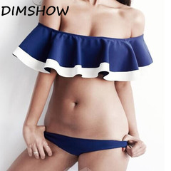 DIMSHOW Flouncy Sexy Bikini Blue White Patchwork Swimwear Beach Bathing Suit Women Brazilian Bikini blue s