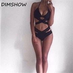 woman High Waist black bandage bikini sexy swimsuit black s