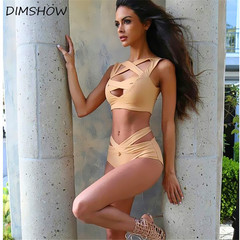 1Set Sexy Bikini Women Bandage Push-Up High Waist Swimwear Bikini Set Swimsuit Beachwear beige m