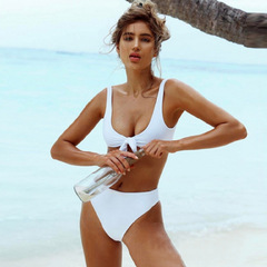 Two piece New Sexy Two-Pieces Swimwear Solid Sleeveless Bodysuits Hollow Out Bathing Suit white s
