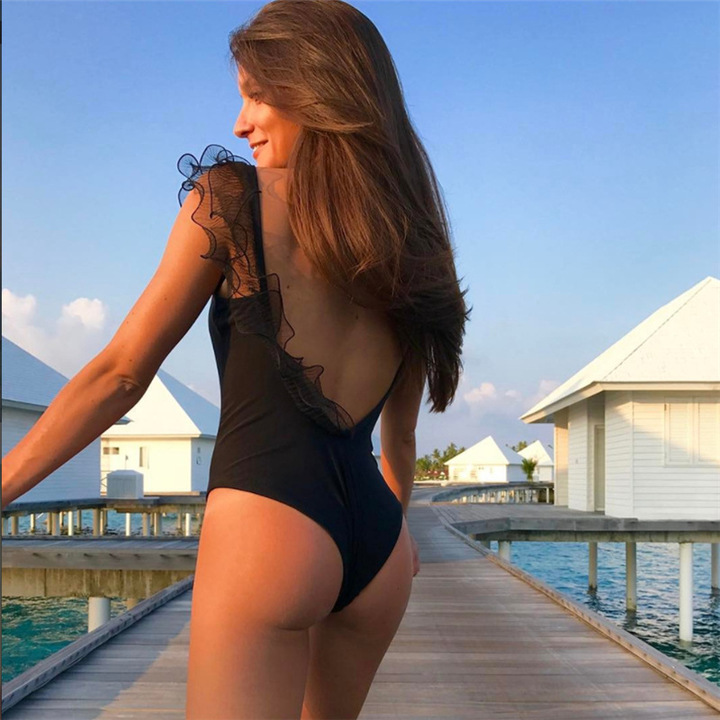 22a99bd34d868 Backless Feather Swimwear Women Plunging Neck Deep V Swimsuit High Cut  Trikini Push Up Monokini black