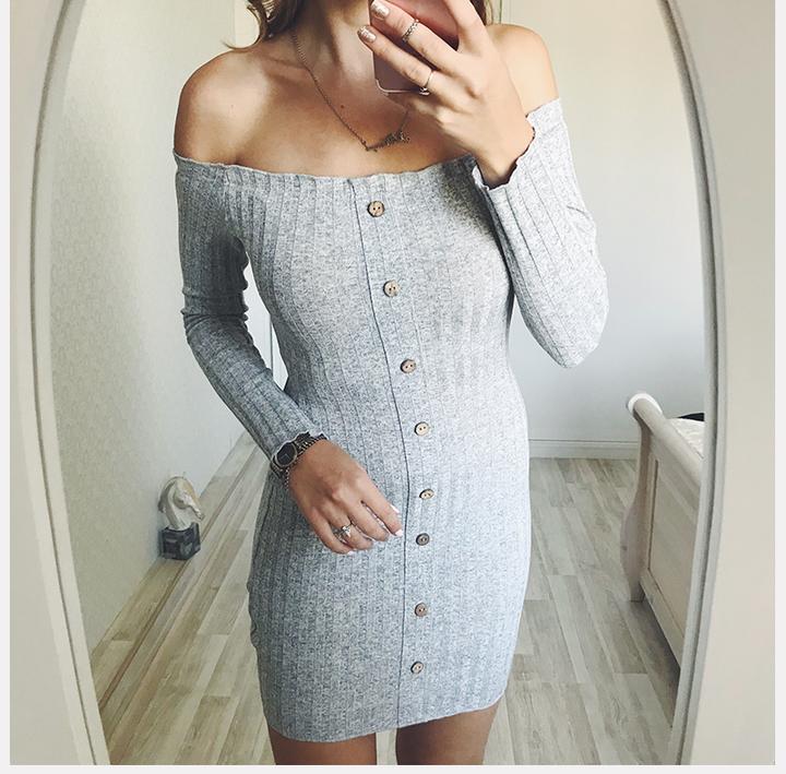 8485b1db0ab Women Knitted Dresses Autumn Sexy Bodycon Off Shoulder Long Sleeve Party  Club Mini Dress m Grey
