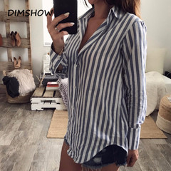 OL Striped Women Blouses loose Casual Autumn Long Sleeve Shirt Women turn down collar Tops Blouse as picture s
