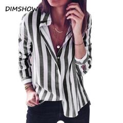 2018 OL Lady New Sexy Turn down collar Chiffon Blouse Long Sleeve Striped Sweet Causal Shirts black s