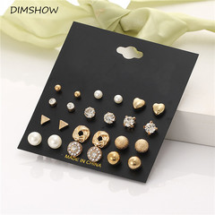 Fashion 12 pair/set Trendy Style Women Square Crystal Heart Stud Earrings Pearl Flower Earring gold one size