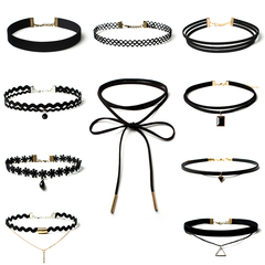10 Pcs/pack Black Lace Leather Velvet strip Choker Necklace Torques Multi layers Collar Jewelry black one size