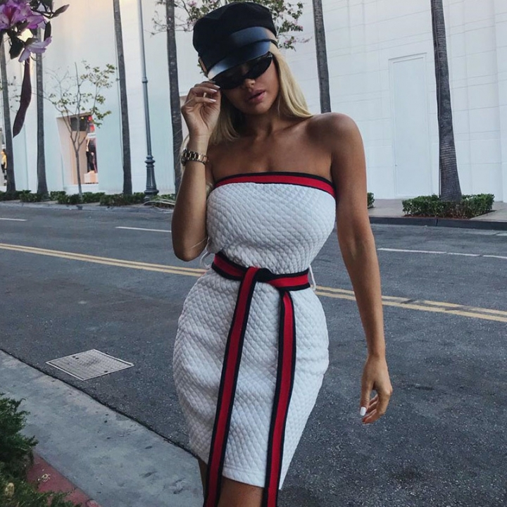 2018 NEW hot sell Women Summer Spring Solid Color Off Shouder Sleeveless Lace Up Mini Tube Dress l white