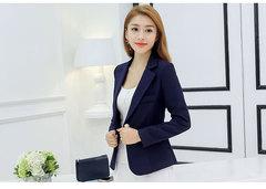 NEW fashion Women office OL High-Grade Fashion suit Blazer navy blue s