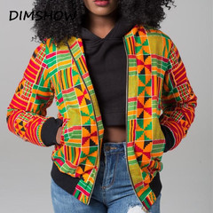 2018 Sexy Indie Folk Womens Jacket Coat African Printed Bomber Jacket Autumn Winter New Outwear yellow s