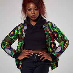 2018 Sexy Indie Folk Womens Jacket Coat African Printed Bomber Jacket Autumn Winter New Outwear green s