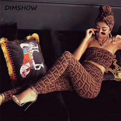 Women Print Sexy Club Party Two Piece Set Summer Sleeveless Top and High Waist Sheath Pencil Pants coffee s