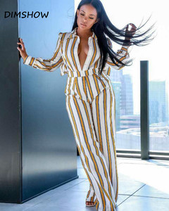 Striped Two Piece Sets Women Long Sleeve Shirt Tops and  Autumn Casual Matching Set Outfits white s