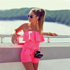 Strapless dress jumpsuits with 2017 European fashion street summer suit women's Jumpsuits suit pink s