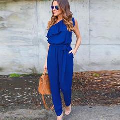 Bandage Chiffon Jumpsuit Club Jumpsuits Fashion Bodycon Long Section Women Jumpsuit blue s