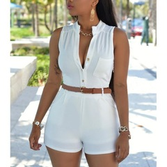 Deep V-neck High Waist Playsuits with Belt Summer Solid Sleeveless Slim Rompers white s
