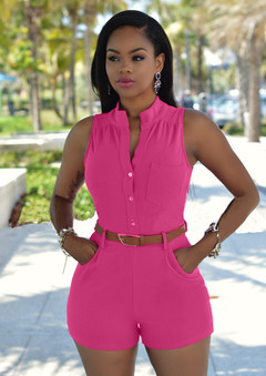 Sexy Womens Jumpsuit Short Bodycon Sleeveless Jumpsuits Women Overalls Suit With Belt rose red s