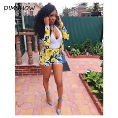 2018 New Arrive Best Quality Women Summer Short Jumpsuit Sexy Two-Piece Beach Print Mini Rompers yellow s
