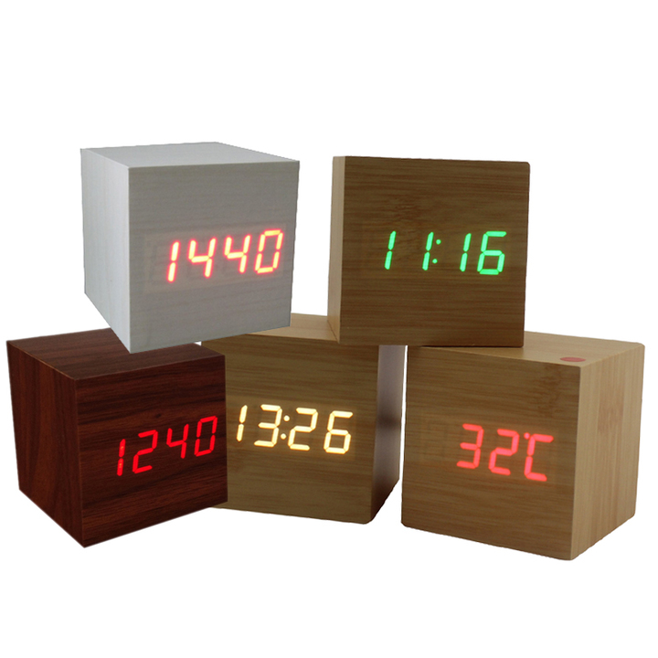 Multicolor Sound Control Wood Square LED Alarm Clock Desktop Table Digital  Thermometer USB/AAA Date