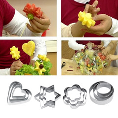 12pcs Stainless Steel Cookie Biscuit DIY Mold Star Heart Cutter Baking Tool silver 7*2cm