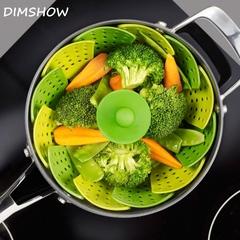 Stackable Retractable Silicone Steamer Multifunction Steaming Rack Folding Fruit  Vegetable Basket random color 25*12cm