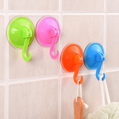 4 PCS/Lot Colorful Suction Cup Hooks Strong Wall Sucker Vacuum Traceless Kitchen Bathroom Wall Hook random color 7.5*7.5cm