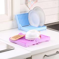 Foldable Dish Drip Rack Plate Organizer Cup Drainer Kitchen Flatware Drying Holder Shelf  Storage purple 21*17cm