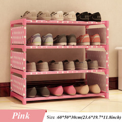 New Shoes Rack 4 Floors Receive Shoe 50 Cm High Bed Bottom Bed Shoes Shelf pink