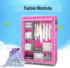 Non-woven fold Portable Storage Cabinet Assemble Wardrobe pink