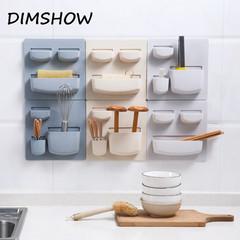 Paste Wall Shelf Kitchen Finisher Dormitory Artifact Toilet No Punching Wall Mount Shelf beige
