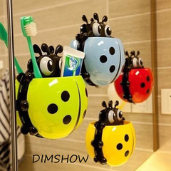 Cute Ladybug Toothbrush Wall Suction Bathroom Sets Cartoon Sucker Toothbrush Holder / Suction Hooks random 15*14cm