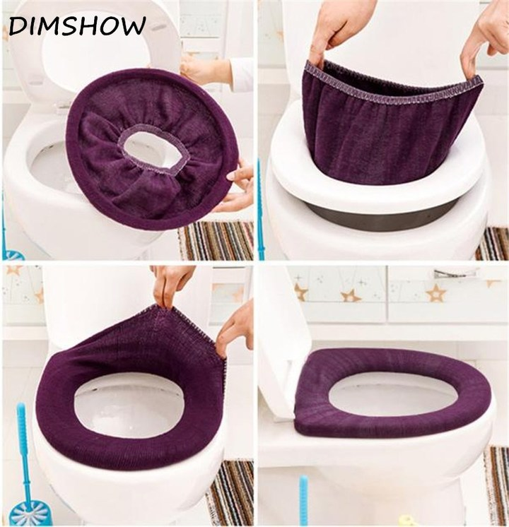 Bathroom Toilet Seat Closestool Washable Soft Warmer Mat Cover Pad Cushion winter toilet random as picture