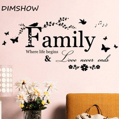 Wall Sticker Wallpapers Stickers Family Letter Quote Removable Decal Art Mural Home Decor Stickers black 13*57cm