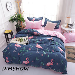 Cartoon Pink Flamingo Bedding Sets 4pcs Bed Linings Duvet Cover Bed Sheet Pillowcases Cover Set 23 1.5m size