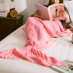 Mermaid Tail Blanket Yarn Knitted Handmade Crochet  Blanket Throw Bed Wrap Super Soft Sleeping Bed pink 50*90cm