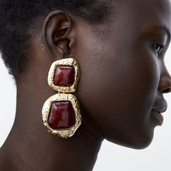 Vintage Europe Gold Color Rhinestones Earring Woman Bohemian Square Earrings Fashion Jewelry Custom wine red 4*7.5cm