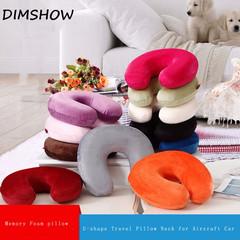 Travel Pillow Neck for Aircraft Car U Shape Plush Memory Foam Solid Slow Rebound Pillow random color 28*28cm