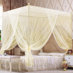 Princess Lace Canopy Mosquito Net Four Corner Post Bug Insect Repeller No Frame Full Queen King Size beige 1.5*2m