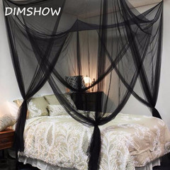 2018 Black White Four Corner Post Bed Black Canopy  Camping Mosquito Net Full Queen King Size black 73
