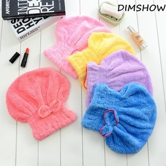 6 Colors Microfiber Solid Quickly Dry Hair Hat Womens Cap Bathing Tool Drying Towel Head Wrap Hat purple 33*24cm