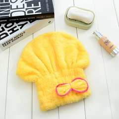 6 Colors Microfiber Solid Quickly Dry Hair Hat Womens Cap Bathing Tool Drying Towel Head Wrap Hat yellow 33*24cm