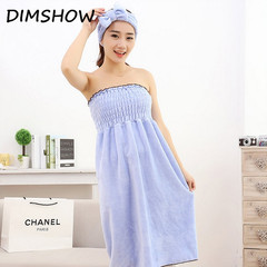High-quality coral velvet towel fashion lady sexy belly band bathrobe quick-drying beach towel sets blue 75*150cm