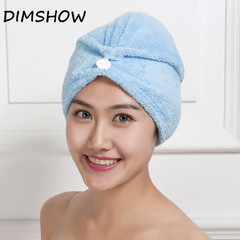 High quality microfiber strong water absorption hair dry shower bath caps/hats blue 60*25cm