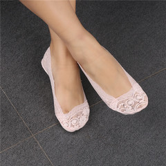 Lady Girls Anti-shedding Cotton Lace Antiskid Invisible Liner No Show Peds Low Cut Socks pink free size