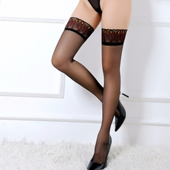 2018 Sexy Sheer Black Peacock Feather Embroidery Lace Top Thigh High Stockings Elegant red free size