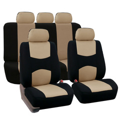 10Pcs Universal Car Seat Cover Set Kits Mesh Sponge Headrest  Protector Car Styling For 4 Seasons beige 135*76cm