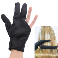Hairdressing Three Fingers Glove Heat Resistant Hair Straightening Curling Finger Glove Styling black as picture