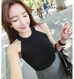 2018New Style Women Sleeveless Tank Tops Sexy Halter  Fitness Solid Summer Casual Crop Tops black free size