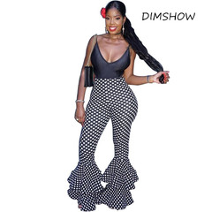 Fashion 2018 Sexy Ladies Ruffle Pants Fashion Bell Bottom Flare Pants High Waist Polka Dot Trousers dot s