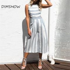 Best selling 2018 fashion summer striped zipper strapless women's jumpsuit grey s